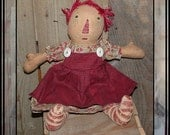Primitive folk art hand embroidered rag doll thread hair HAFAIR painted legs raggedy girl