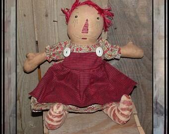 Primitive folk art hand embroidered rag doll string hair HAFAIR painted legs raggedy girl ofg faap