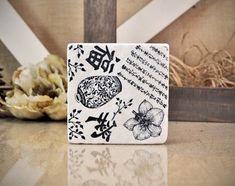 Asian Influence Absorbent  Stone Tile Drink Coaster