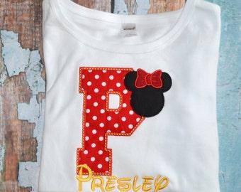 Initial Minnie Mouse Shirt, Red Polka Dot Minnie Mouse, Girls birthday shirt, disney trip shirt