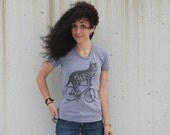 Cat on a Bike - Ladies Tri Grey American Apparel T Shirt
