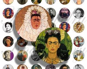 Frida Kalho images for bottle caps, pendant, buttons, scrapbook and more Vintage Digital Collage Sheet No.234