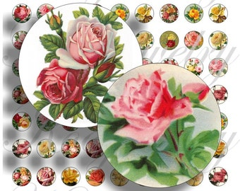 Vintage Roses images for 16mm bezel, pendant, buttons, scrapbook and more Vintage Digital Collage Sheet No.1415