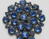 Reserved for Tory - Dress Clip - Vintage Blue Glass Stone Large Dress Clip
