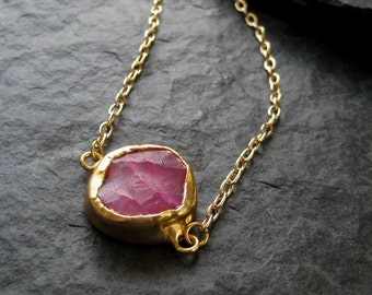 SALE - 24K Gold Plated Pink Hammered Chalcedony Pendant Necklace