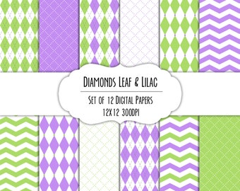 Leaf & Lilac Diamond Digital Scrapbook Paper 12x12 Pack - Set of 12 - Argyle, Diamonds, Chevron - Instant Download - #8138