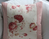 Ticking and Floral Pillow Covers - Waverly Norfolk Rose and Striped Ticking