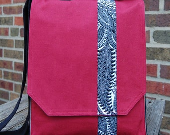 Stunning Cranberry with Stripe Messenger Bag