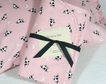 Blanket, pillow set, nap time, preschool, toddler, girl, pink cows, moons, travel