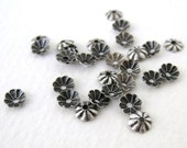Antiqued Silver Ox Tiny Flower Bead Cap Plated Vintage Style 5mm bcp0024 (18)