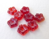 Vintage Bead Glass Flower Cabochon Ruby Red 8mm gcb0948 (8)