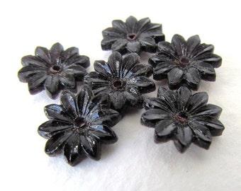 Vintage Glass Flower Cabochon Black Petals Daisy Czech Bead 13mm gcb1006 (6)