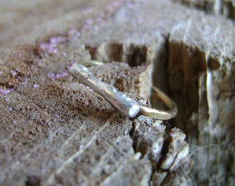 Twig - sterling twig ring with gold-filled band - made to order