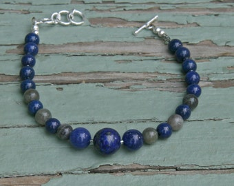 "lapis Labradorite Bracelet Beaded  Navy Blue Grey Gray  Sterling Silver ""Stormy Skies"" Adjustable"