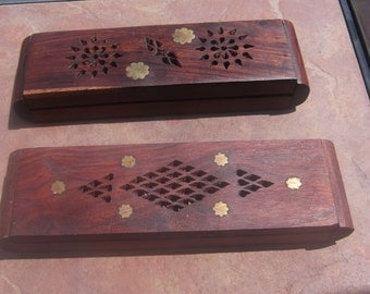 Pair of Brass Inlaid Teak Pen or Trinket Boxes