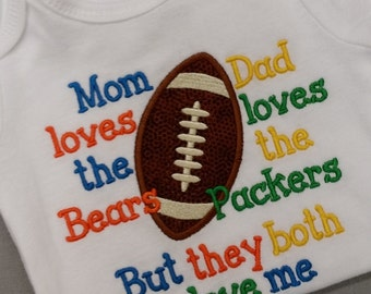 House Divided, Packers Bears t shirt, packers, bears, mom loves bears, dad loves packers, house divided, football shirt. embroidered shirt