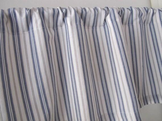 Ticking Stripe Window Valance, Men's Shirt Cotton, Blue Ticking