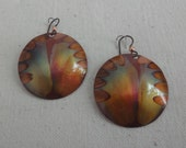 NEW - Flame Painted Copper Earrings. Vibrant Colors. Gift for Her. Artisan. Jewelry. Handcrafted.Unique