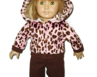 Pink Animal Print Hoodie n Pants Outfit fits American girl dolls 18 inch doll clothes Item 196
