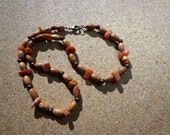 Necklace Red Aventurine Gemstones, Antiqued Copper and Wood Beads with Clasp 21.5 Inches