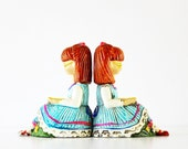 Bookworm - Vintage Bookends - Kids - Kitsch - Aqua - Blue - Red Hair - Reading - Books - Home Decor - Retro - Bright - Neon