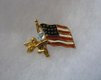 USA flag lapel pin brooch with angel & rhinestone accent