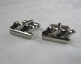 Neat retro silver and black vintage cuff links cufflinks