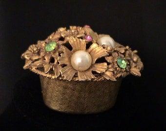 Vintage FLORENZA Jewel Box Gold, Pearl, and Rhinestones