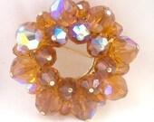 Vintage Golden Topaz AB Crystal Pin, Brooch