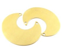 2 - Raw Brass Crescent Stampings Pendants Connectors