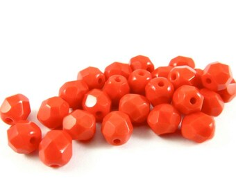 30 - Round Czech Fire Polished Faceted Glass Beads - Opaque Bright Red - 6mm - FPRED6