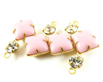 2 - Vintage Glass Square and Round Stones in 1 Ring 2 Stones Brass Prong Settings - Opaque Pink & Crystal - 18x11mm