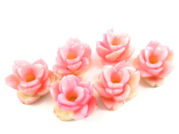 4 - Vintage Plastic Hand Painted Roses with Large Hole in Center - 12mm