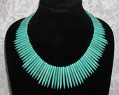 Turquoise Stix Tribal Boho Beaded Necklace
