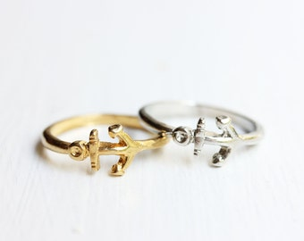 Gold Anchor Ring - Size 3.5