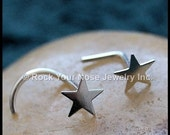 Star Nose Stud / Silver Nose Stud / Nose Screw / Nose Bone/ Sterling Star / 24G Nose Ring/22G Nose Ring/20G Nose Ring/18G/ - Customize