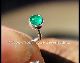 Emerald Nose Stud / Sterling Silver Nose Stud / 3mm stone - CUSTOMIZE