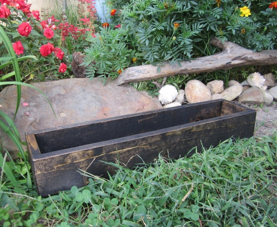 Dark wood centerpiece box rustic weddig decor table