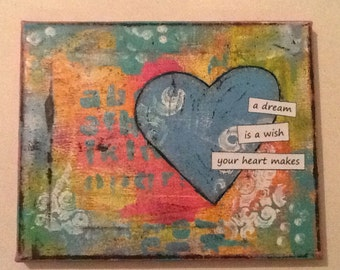 CHRISTMAS IN JULY 40% Off  / A Wish Your Heart Makes Mixed Media Original 8x10