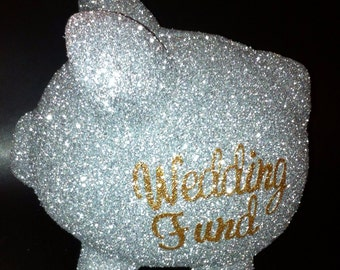 Personalized glitter and jeweled piggy bank with glitter letters wedding day fund wedding fund engagement gift bling wedding
