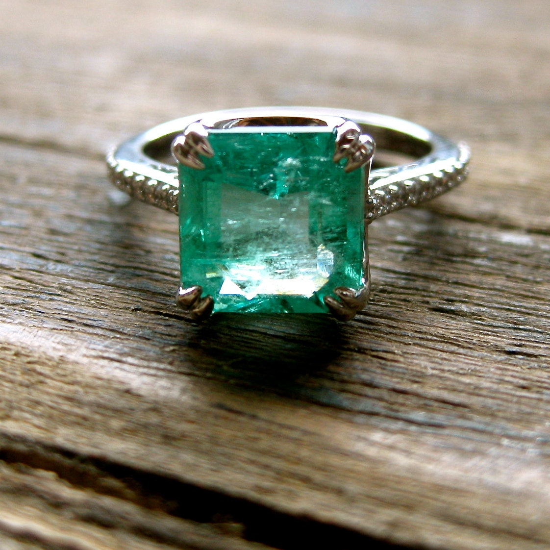 Colombian Emerald & Diamond Engagement Ring in 18K White Gold