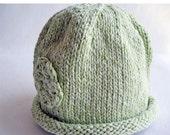 Baby Hat Hand Knit Rolled Brim Flower Cloche, Mint Green Pastel