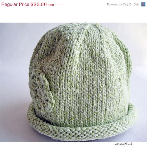 Baby Hat Hand Knit Rolled Brim Flower Cloche Mint Green