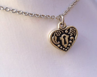large heart charm necklace