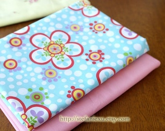 Lovely Shabby Chic Summer Red Sunflower Rose Floral White Polka Bubble Dots On Sky Blue - Thick Cotton Fabric (1/2 Yard, LAST Piece)