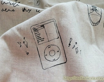 SALE Clearance Home Decor Illust Linen-Retro Sketched Black Vintage Apple Ipod Music Poem Sports Zakka Wish List(1 Panel,19x21 inches)