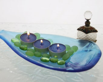 Aquamarine Tea light Candleholder  -  Fused Glass Wine Bottle - Feng Shui Decor,  from virtulyglass
