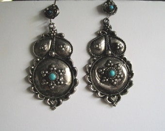 Hippie Western Boho Dangle Earrings Silver Metal and Turquoise  Free Shipping
