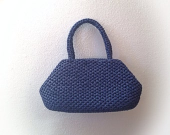 Vintage 1960s Navy Blue Raffia Purse