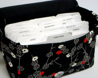 Super Large Size Coupon Organizer Binder / Budget Organizer Holder Box - Zen Blossom Floral